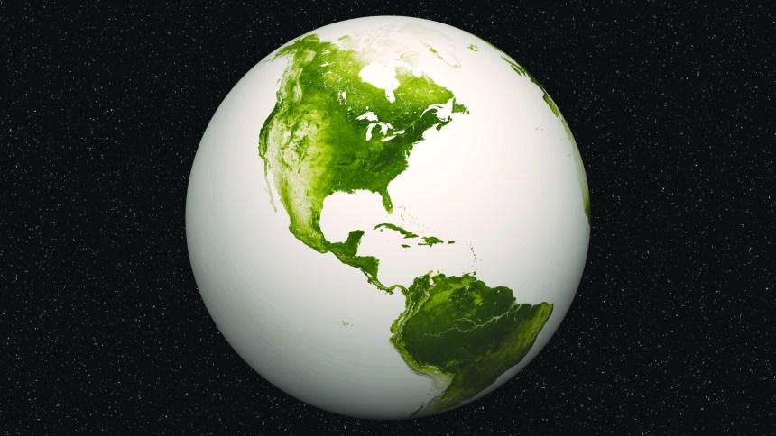 La terre est verte sur la planète bleue