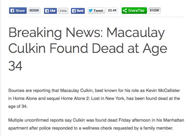 ACTU - Fausses nouvelles - Macaulay Caulkin