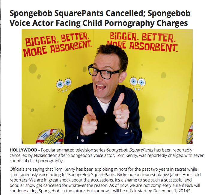 ACTU - Fausses nouvelles - Spongebob