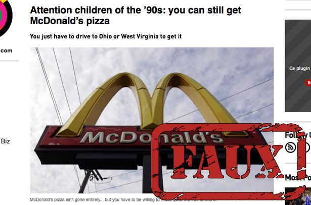 Non, la McPizza n'est pas disponible dans deux McDonald's américains