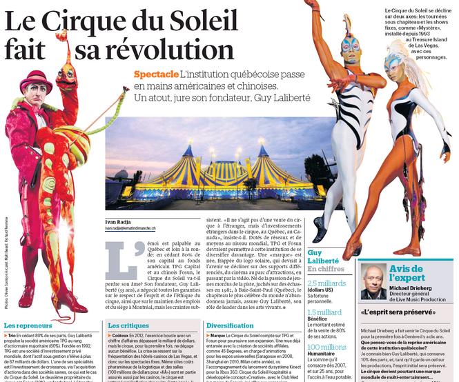 Le Québec dans le monde: Gigantesque médiatisation du Cirque du Soleil