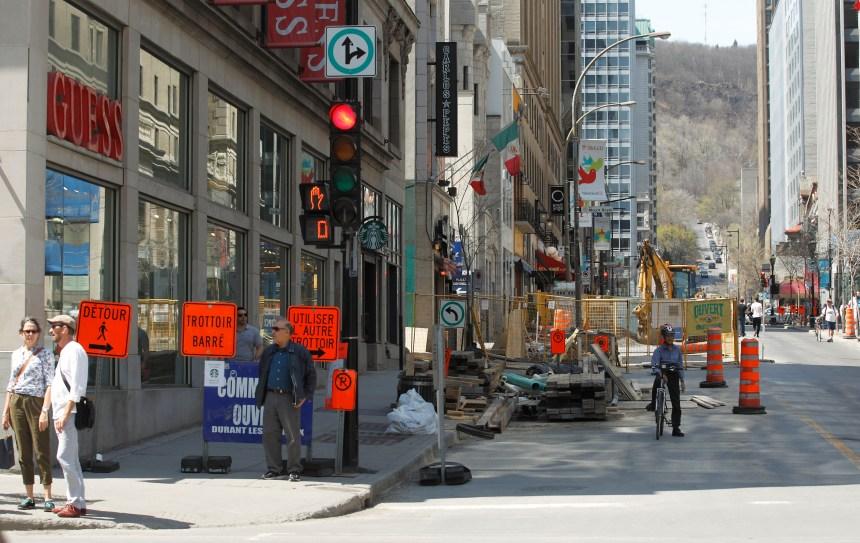 Cohabitation difficile entre restaurateurs et travaux sur la rue Peel
