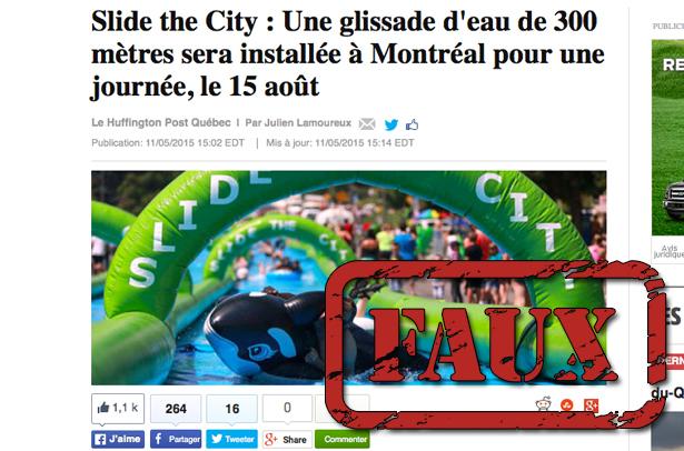 Non, l'installation d'une glissade d'eau géante à Montréal n'a pas été autorisée (mise à jour)