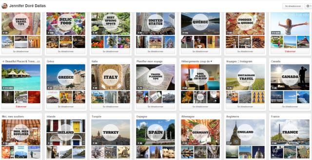 Tableaux Pinterest de Jennifer Doré Dallas,  blogueuse voyage mieux connue comme Moi mes souliers