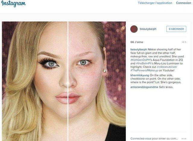 Des femmes s'affichent avec une moitié du visage maquillée sur Instagram