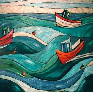 En plus de Saint-Laurent, les peintures d'Étienne Côté représentent les quartiers populaires de Montréal, mais aussi des homardiers et des barques de la Gaspésie.