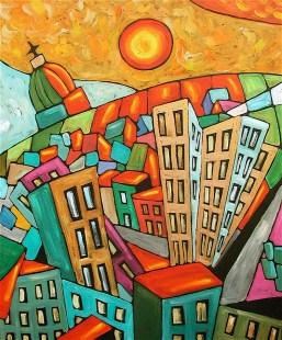 Les toiles d'Étienne Côté se caractérisent par des traits aux couleurs éclatantes, représentants souvent des lieux connus de Montréal. Il peint des paysages liés à des expériences mémorables et des souvenirs de jeunesse.
