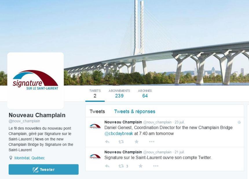 Le nouveau pont Champlain a son compte Twitter