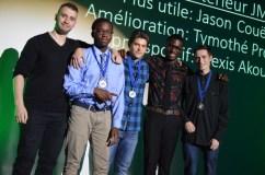 Entraîneurs et joueurs méritants Soccer masculin juvénile (Nassim Chahour, Alexis Akouete, Jason Couët, Jean-Daniel Estimable, Tymothé Provost)
