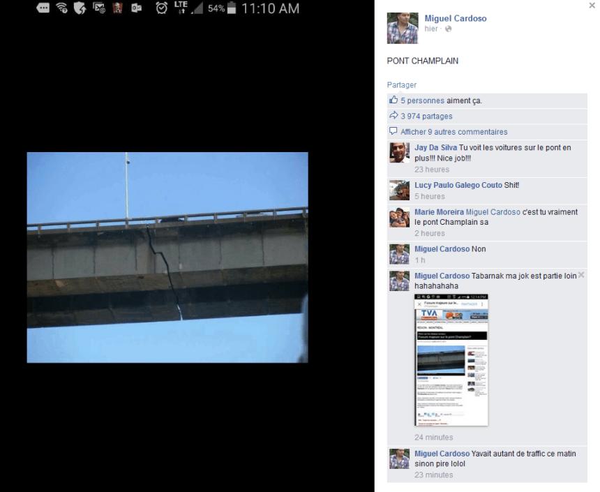 Fissure sur le pont Champlain: Une fausse photo circule sur les réseaux sociaux