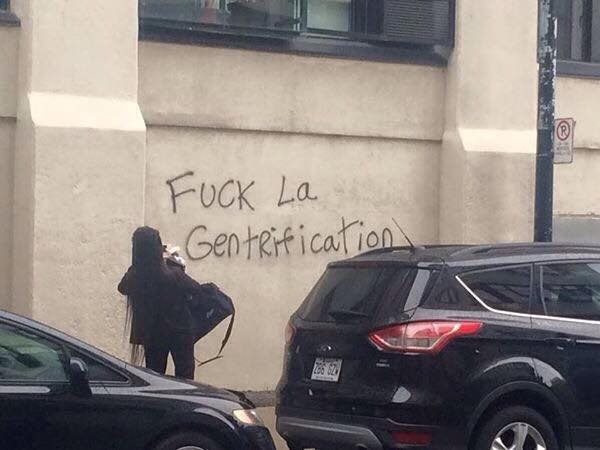 Graffitis dénonçant l'embourgeoisement à Saint-Henri
