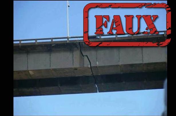 Non, ceci n'est pas une photo d'une fissure dans le pont Champlain
