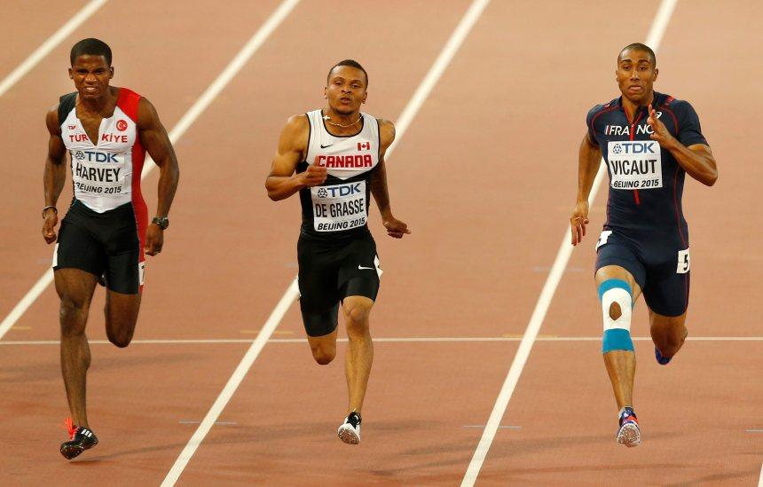 Athlétisme: De Grasse en demi-finale du 100 m