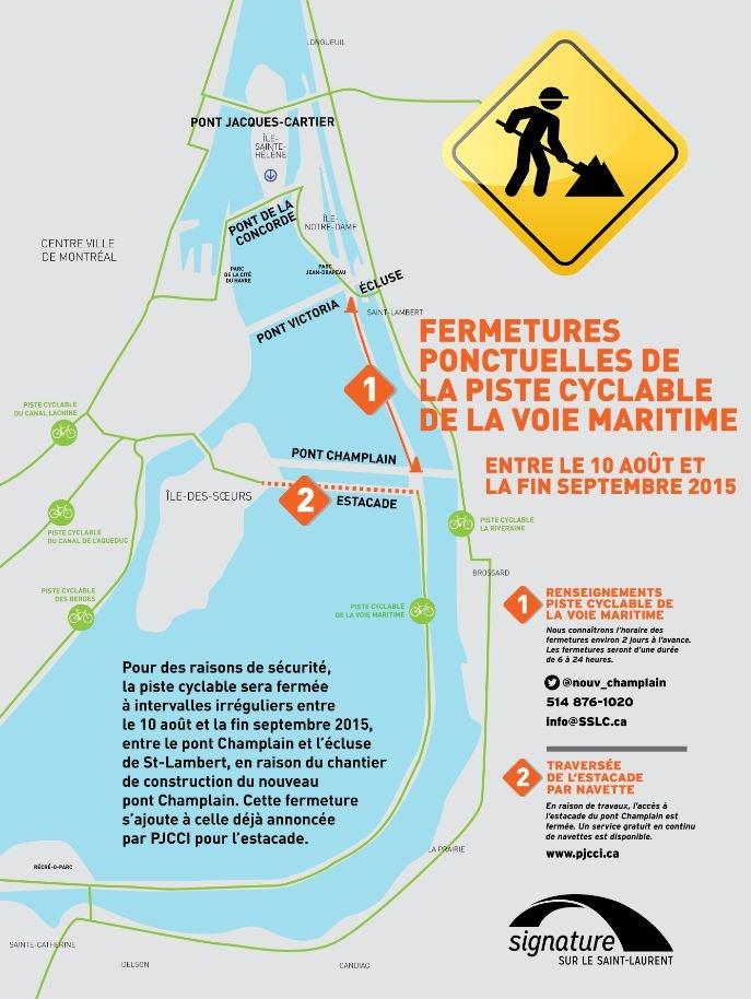 Fermetures ponctuelles de la piste cyclable de la Voie maritime
