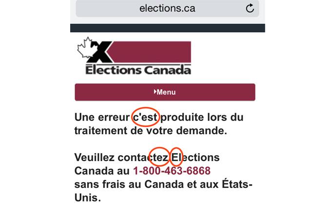 Erreurs dans un message d'erreur sur le site d'Élections Canada