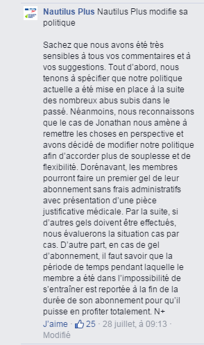 Nautilus modifie sa politique