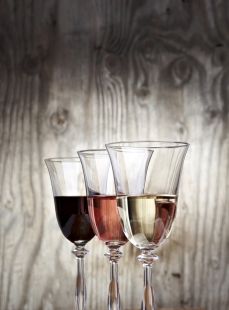 Glasses filed with wine
