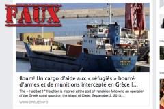 Non, un cargo d'aide aux réfugiés rempli d'armes n'a pas été intercepté en Grèce