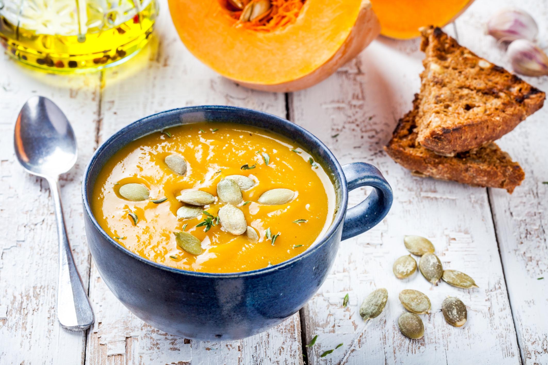 homemade pumpkin cream soup with seeds