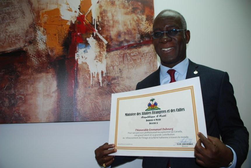 Emmanuel Dubourg honoré par le Consulat général d'Haïti