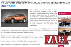 Non, la SAAQ ne vient pas d'interdire les ventes d'automobiles usagées à 1$