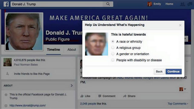 Le réalisateur américain Michael Moore veut que tout le monde signale la page Facebook de Donald Trump