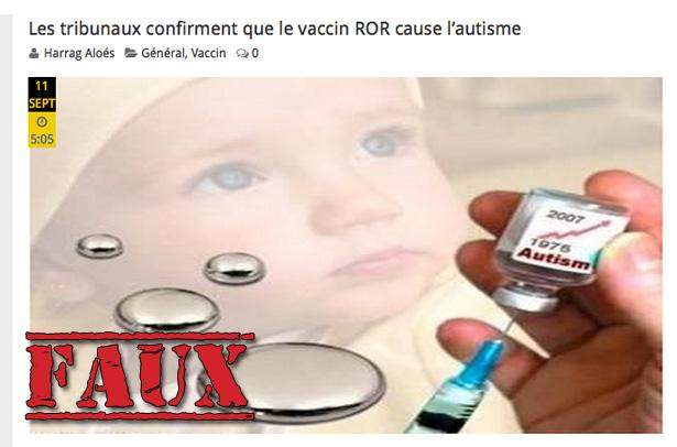 Non, les tribunaux n'ont pas prouvé que les vaccins causent l'autisme
