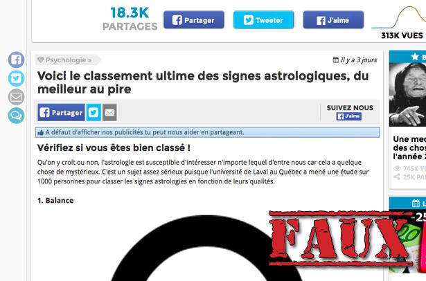 Non, l'Université Laval n'a pas fait de palmarès des signes astrologiques (voyons donc!)