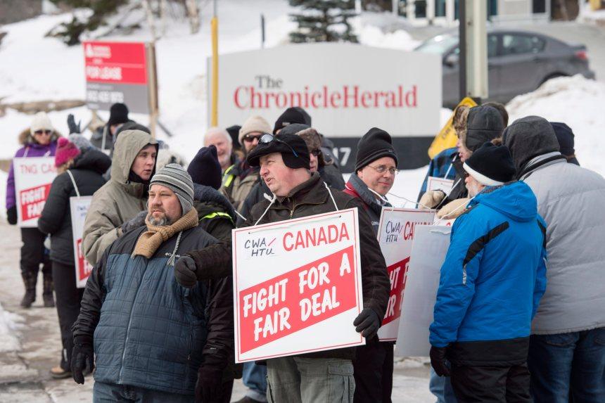 La salle de nouvelles du Halifax Chronicle Herald en grève