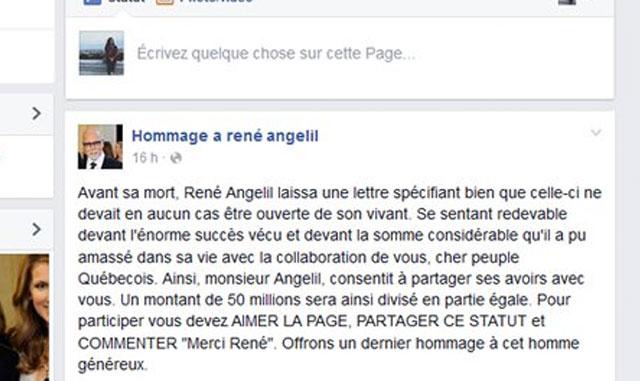 hommage rené angélil facebook