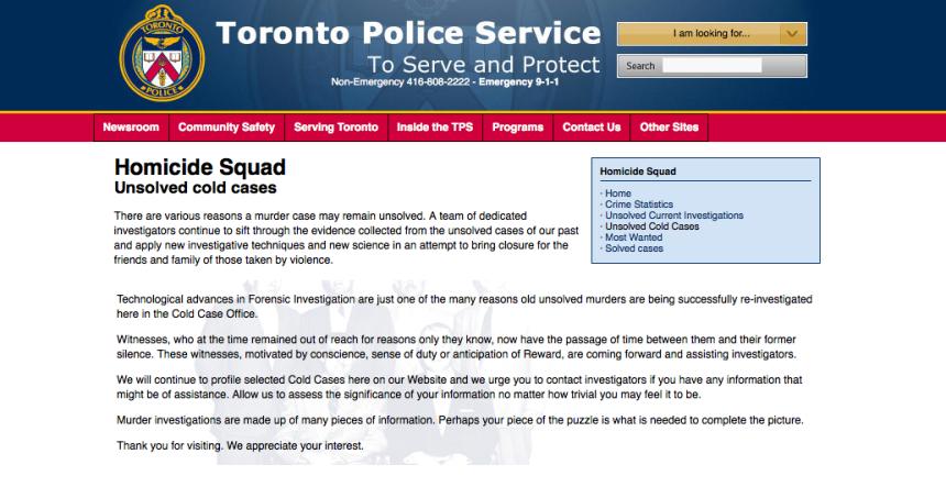 Toronto: un site pour élucider des homicides