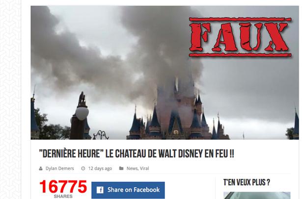 Non, ceci n'est pas une photo du château de Disney World en feu