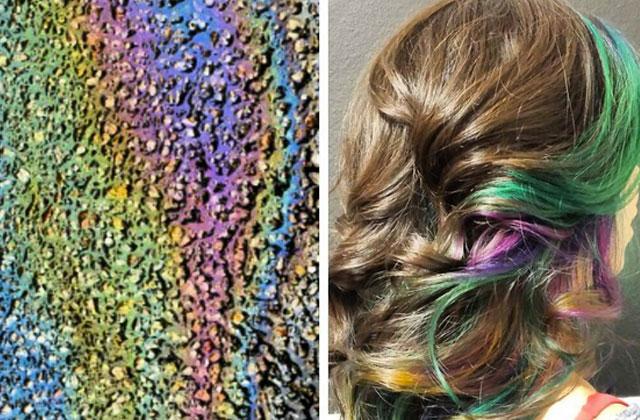 Tendance beauté: les lèvres et cheveux couleur «flaque d'essence»