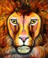 Le signe du lion, une peinture corporelle dont la réalisation a nécessité neuf corps en tout