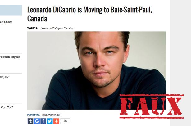 Non, Leonardo DiCaprio ne va pas déménager à Baie-Saint-Paul