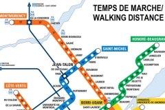 Carte du métro de Montréal: le temps de marche calculé entre toutes les stations