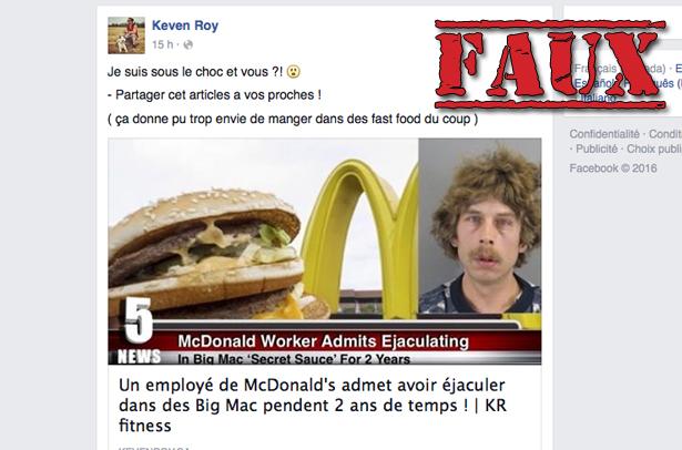Non, un employé d'un McDonald's n'a pas éjaculé dans la sauce spéciale