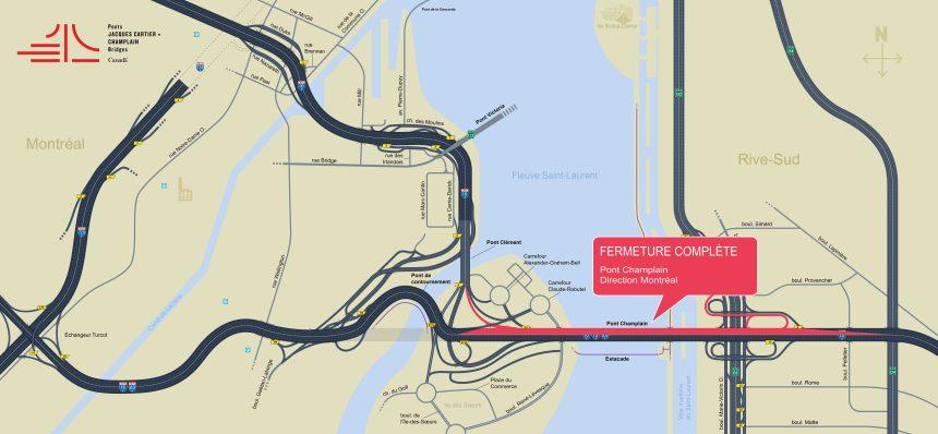 Fermeture du Pont Champlain vers Montréal ce weekend