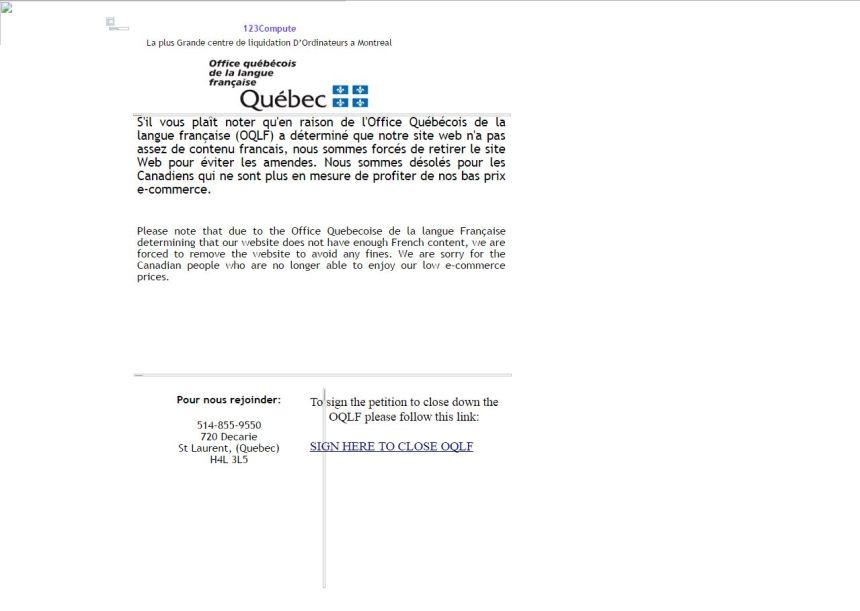 Saint-Laurent: l'anglais domine sur les sites des entreprises