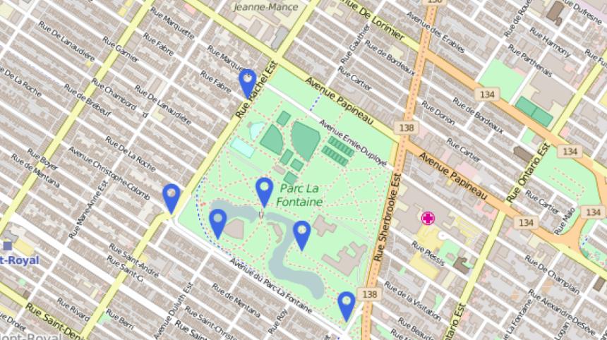 Une carte des zones à risque au parc La Fontaine