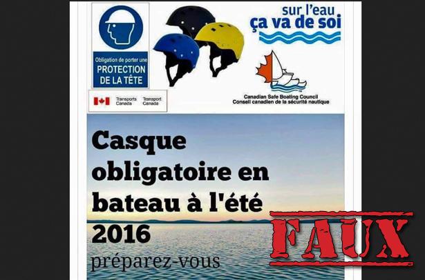Non, le port du casque ne sera pas obligatoire en bateau au Canada
