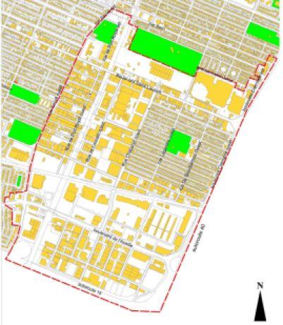 La SDC est établie dans le quadrilatère formé par le boulevard Saint-Laurent, la rue Sauvé et les autoroutes 15 et 40. Carte: Ville de Montréal.