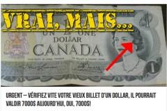 Non, votre billet de 1$ ne vaut très probablement pas 7000$