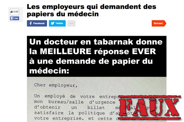 Non, un médecin québécois ne facturera pas aux employeurs les billets d'absence