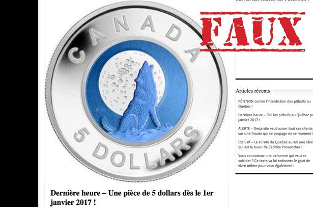 Non, le Canada ne remplacera pas le billet de 5$ par une pièce de monnaie en 2017