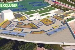 Un skatepark sur l'Esplanade du Parc olympique en 2017