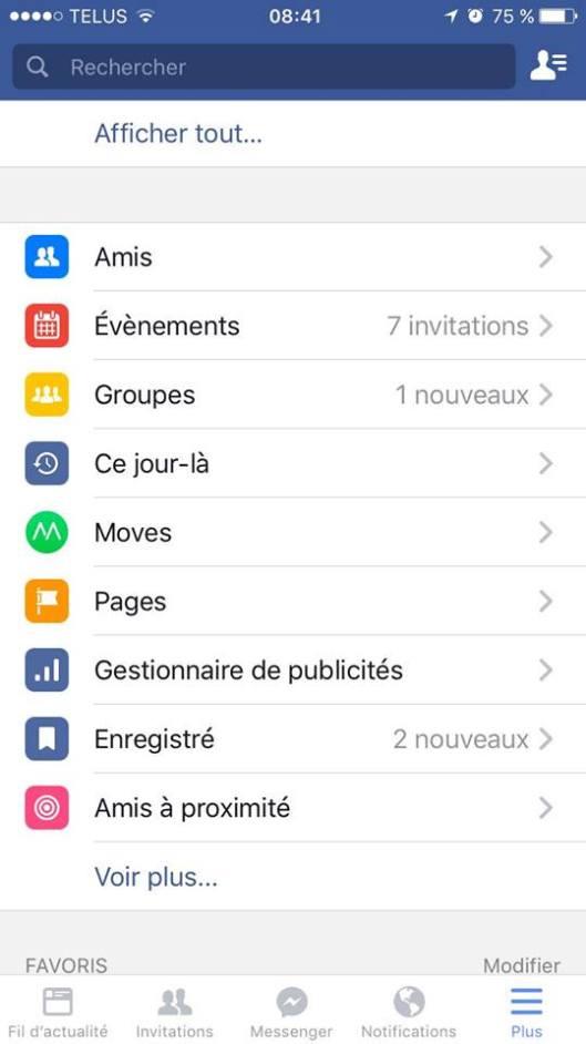 Ce jour là Souvenirs Facebook menu mobile