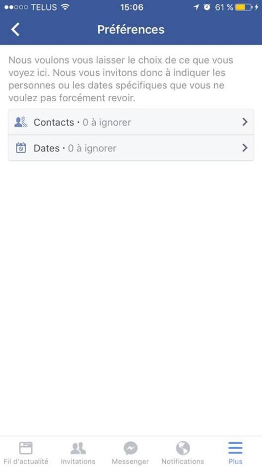 Dates et contacts ce jour là Facebook mobile