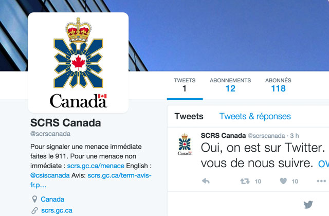 Le Service canadien du renseignement de sécurité est maintenant sur Twitter