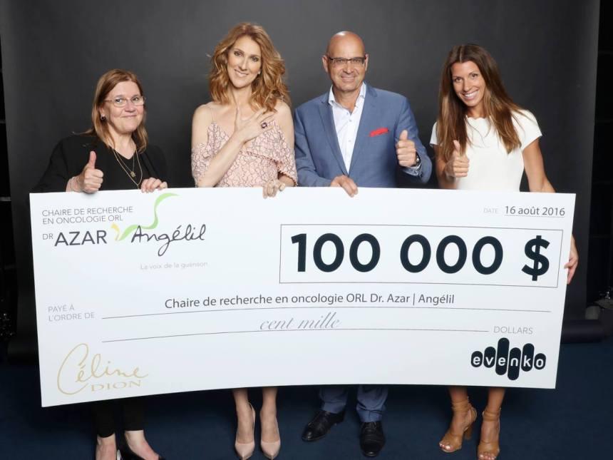 Evenko et Céline Dion remettent 100 000$ pour la recherche sur le cancer